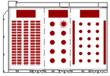 全室 (着席スクール240席(右) 120席(中央) 立食(左)の例)